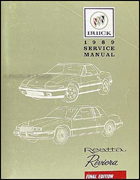 1989 buick riviera reatta repair shop manual original