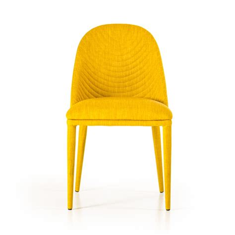 yellow dining room chairs modern yellow fabric dining chair set of 2