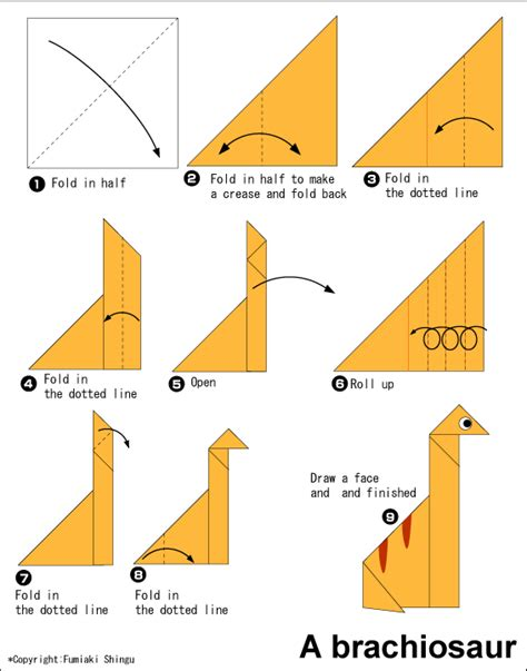 easy origami for easy origami brachiosaurus free origami patterns