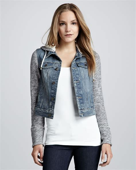 denim and knit jacket free denim and knit hoodie jacket in blue multi