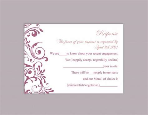 how to make rsvp cards for wedding diy wedding rsvp template editable text word file
