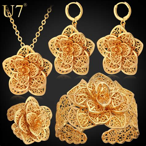 how to make gold plated jewelry aliexpress buy u7 vintage exquisite big flower