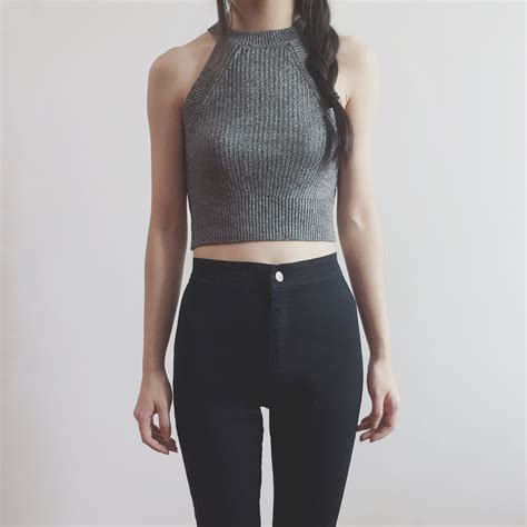 knitted halter top sweater knit halter crop top grey 183 megoosta