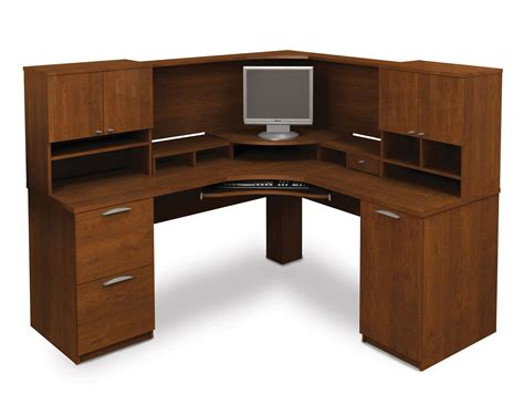 corner computer desk with hutch computer desk blueprints 25 bestar elite tuscany brown