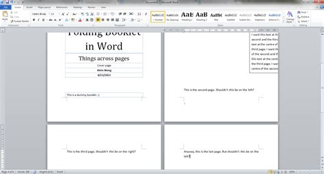 how to make a page word 2010 make objects span across two pages in a booklet