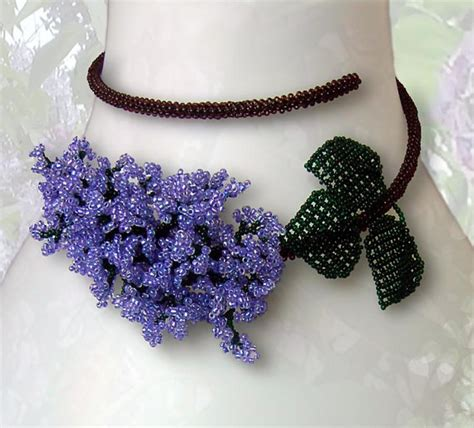 seed bead choker patterns pattern seed beaded lilac flower memory wire necklace beading
