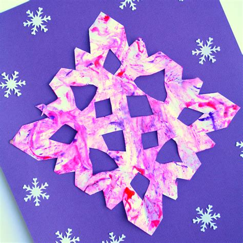 and craft marble painted snowflake craft winter for