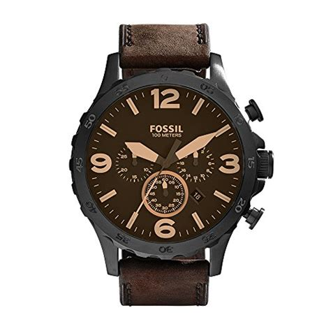 fossil watches with leather bands fossil s jr1487 nate stainless steel with brown leather band frenzystyle