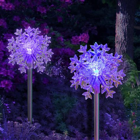 snowflake outdoor lights solar outdoor lights color changing snowflake