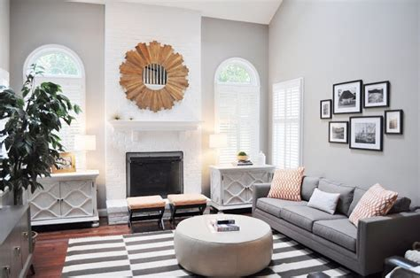 rooms painted gray family room with grey walls a grey and white striped rug