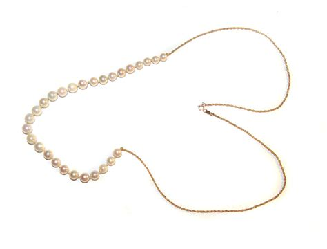 add a bead necklace 14k gold genuine pearl add a bead necklace 25 1 2 quot from