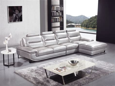 silver sectional sofa silver sectional sofa in high quality leather modern