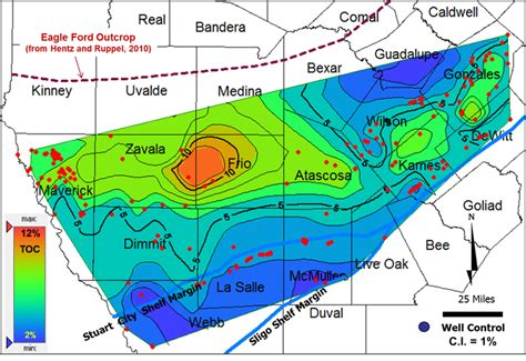 Eagle Ford by Toc Of Lower Eagle Ford Shale Determined Using Data From