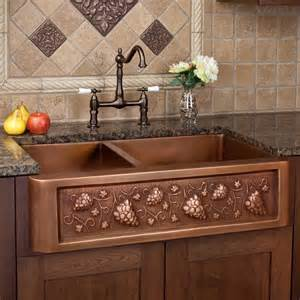 kitchen with copper sink 33 quot tuscan series 60 40 offset bowl copper