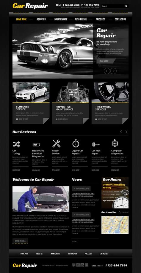 Car Modification Websites by Car Repair Service Bootstrap Html Template By