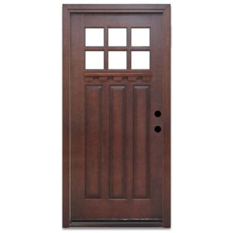 wood front doors home depot steves sons craftsman 6 lite prefinished mahogany wood