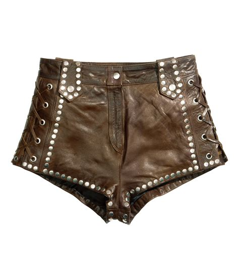 leather shorts h m leather shorts in green lyst