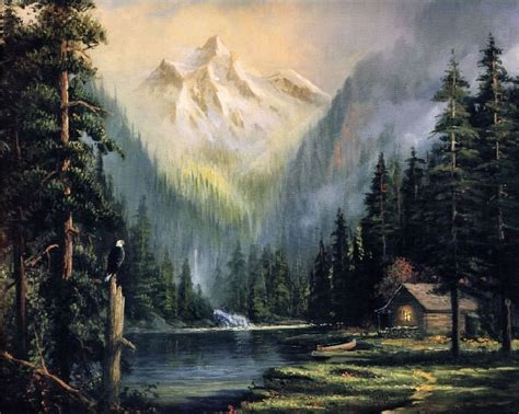 bob ross painting light usa keeper of the valley by kinkade 1958 2012
