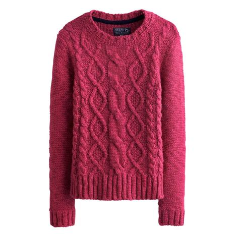 knitted womens jumpers joules s avelyn cable knit jumper chunky pink sweater