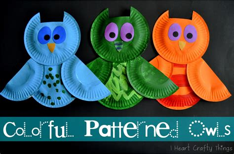 owl paper plate craft colorful patterned owls i crafty things
