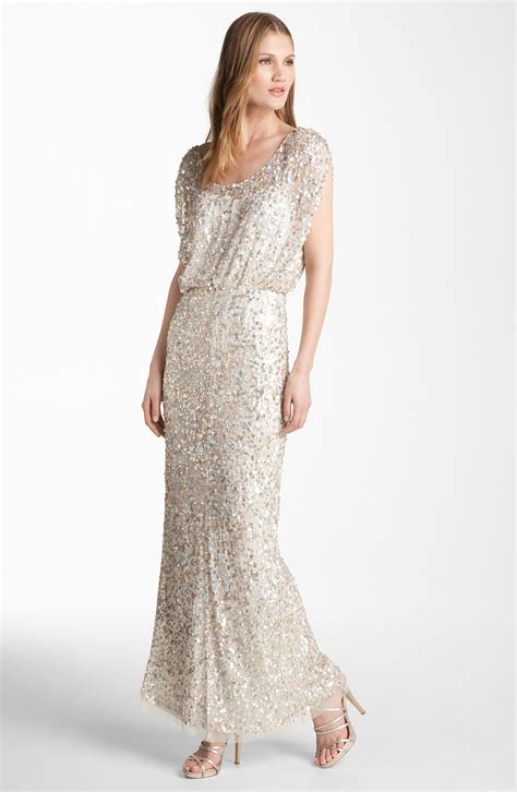 beaded mesh blouson gown js collections blouson bodice sequin mesh gown in gold