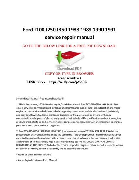 service repair manual free download 1989 ford bronco seat position control ford f100 f150 f250 f350 1988 1989 1990 1991 service repair manual