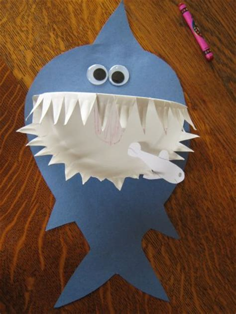 paper crafts for boys paper plate shark family crafts
