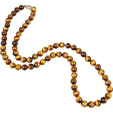 gold bead necklace tigers eye bead necklace with 14k gold clasp sold on ruby