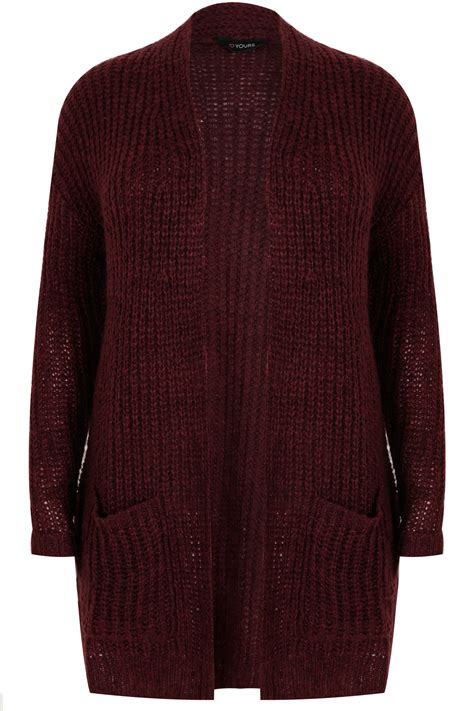 plus size knit with pockets yoursclothing plus size womens berry longline chunky knit