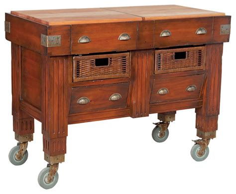 rustic kitchen islands and carts woodtone butchers block station rustic kitchen islands and kitchen carts by modern decor home