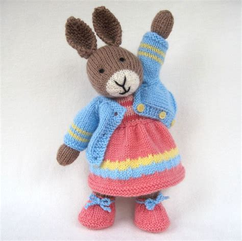 free knitting patterns of toys bunny rabbit doll knitting pattern instant