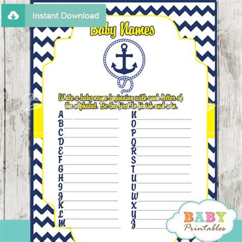 Navy & Yellow Nautical Anchor Baby Shower Games   D197   Baby Printables