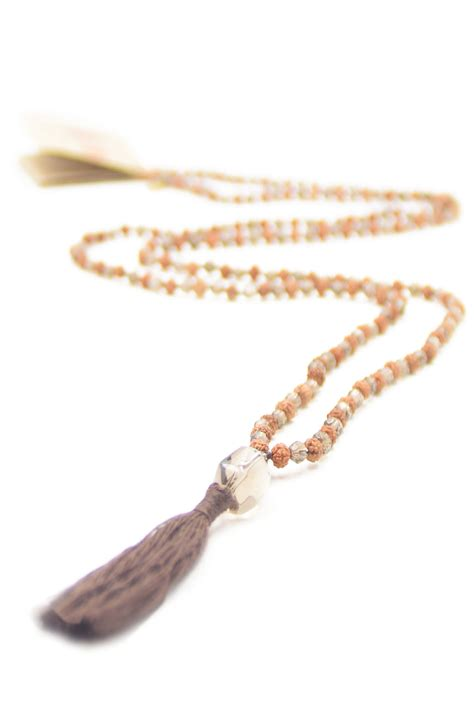 how many in a mala necklace prosperity mala necklace of rudraksha mala smokey quartz