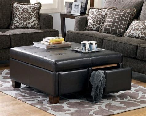 coffee table with storage ottoman best 25 leather ottoman with storage ideas on