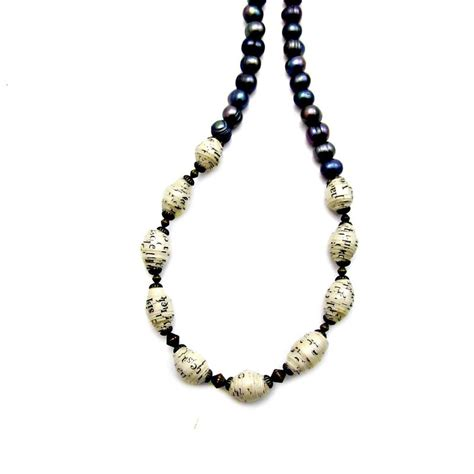 paper bead necklace adjustable blue pearl and recycled paper bead necklace