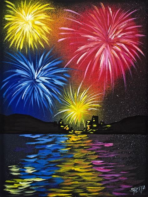 acrylic painting step by step for beginners fireworks water acrylic painting for beginners step