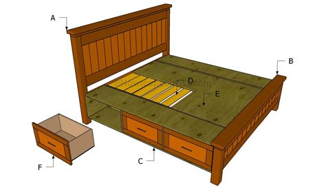 king bed frame with drawers plans how to build a platform bed frame with headboard the
