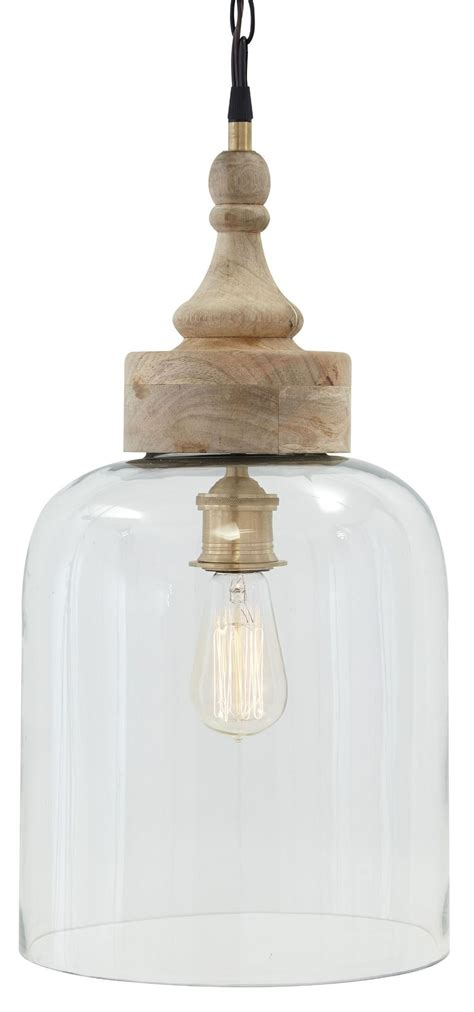 Reviews On Ashley Furniture by Glass And Natural Wood Pendant Light From Ashley L000148