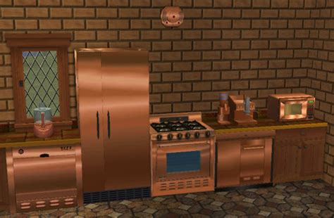 copper colored appliances mod the sims copper textures for base kitchen