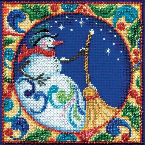 beaded cross stitch jim shore snowman beaded counted cross stitch kit