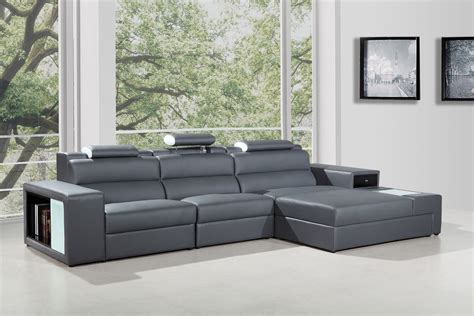 contemporary sectional leather sofa polaris mini contemporary grey bonded leather sectional sofa