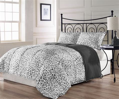 snow leopard bedding sets snow leopard 3pc reversible charcoal grey white comforter
