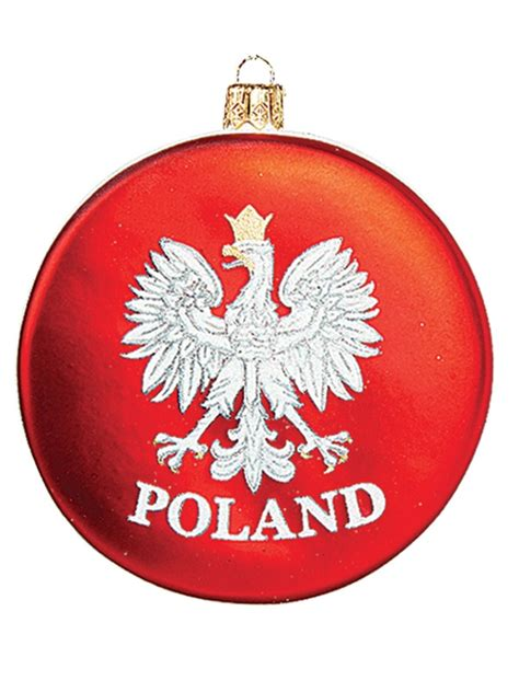 poland ornaments poland disk with eagle blown glass