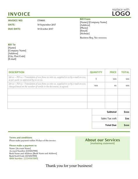 your translation invoice 9 point blueprint amp free templates