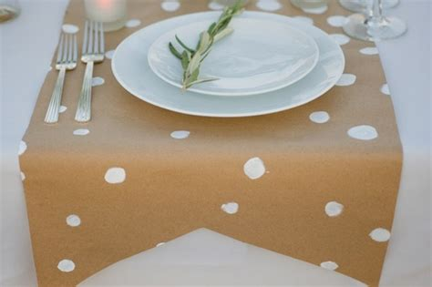 craft paper table runner craft paper table runner w painted white polka dots
