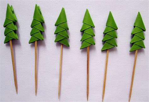 origami pine tree 24 origami pine tree shade cupcake toppers only by