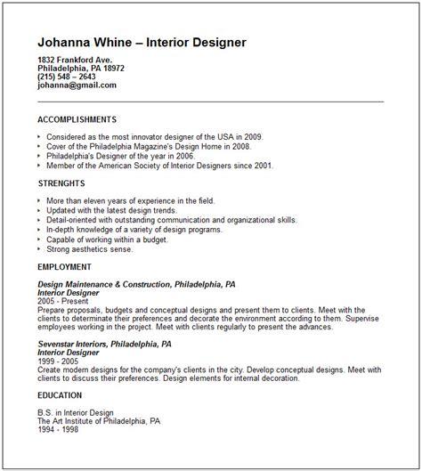 interior design resume templates creative arts and graphic design resume exles