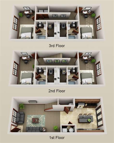 3 story townhouse floor plans best 25 apartment floor plans ideas on sims 3
