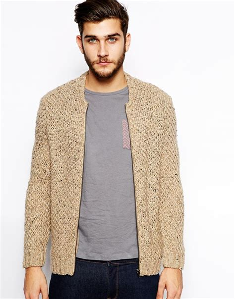 knitted jacket mens asos knitted bomber jacket in beige for oatmeal lyst