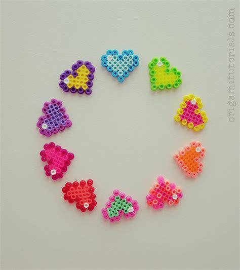 pixel bead perler hearts origami tutorials